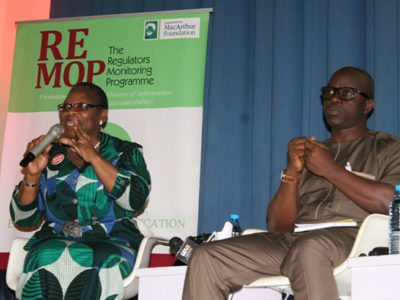 (L-R) Former Minister of Education, Obiageli Ezekwesili and Provost, Nigerian School of Journalism, Gbemiga Ogunleye at the 2017 Wole Soyinka Media Lecture Series event in Abuja