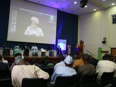 Speakers and a cross-section of participants at the 2017 Wole Soyinka Media Lecture Series event in Abuja